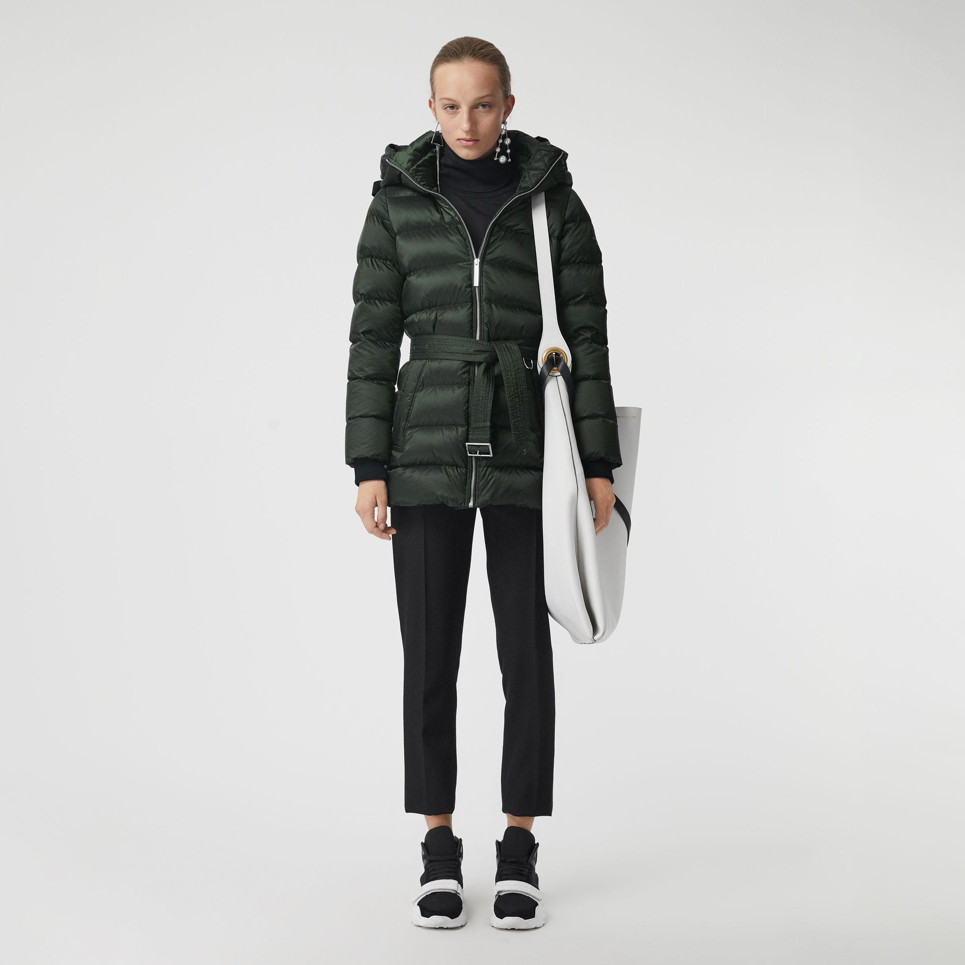 891225796 Burberry Down-Filled Hooded Puffer Coat In Dark Racing Green