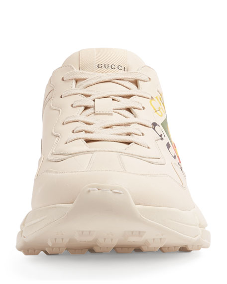 Gucci Rhyton Logo-Print Low-Top Leather Trainers In Neutrals