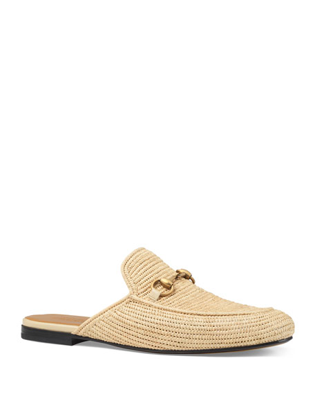 b9db7c984b4 Gucci King Woven-Straw Backless Loafers In Neutrals