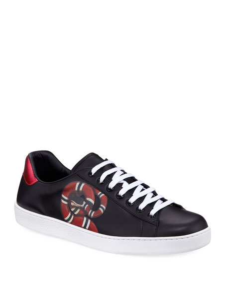 Gucci New Ace Embroidered-Snake Leather Trainers In Black