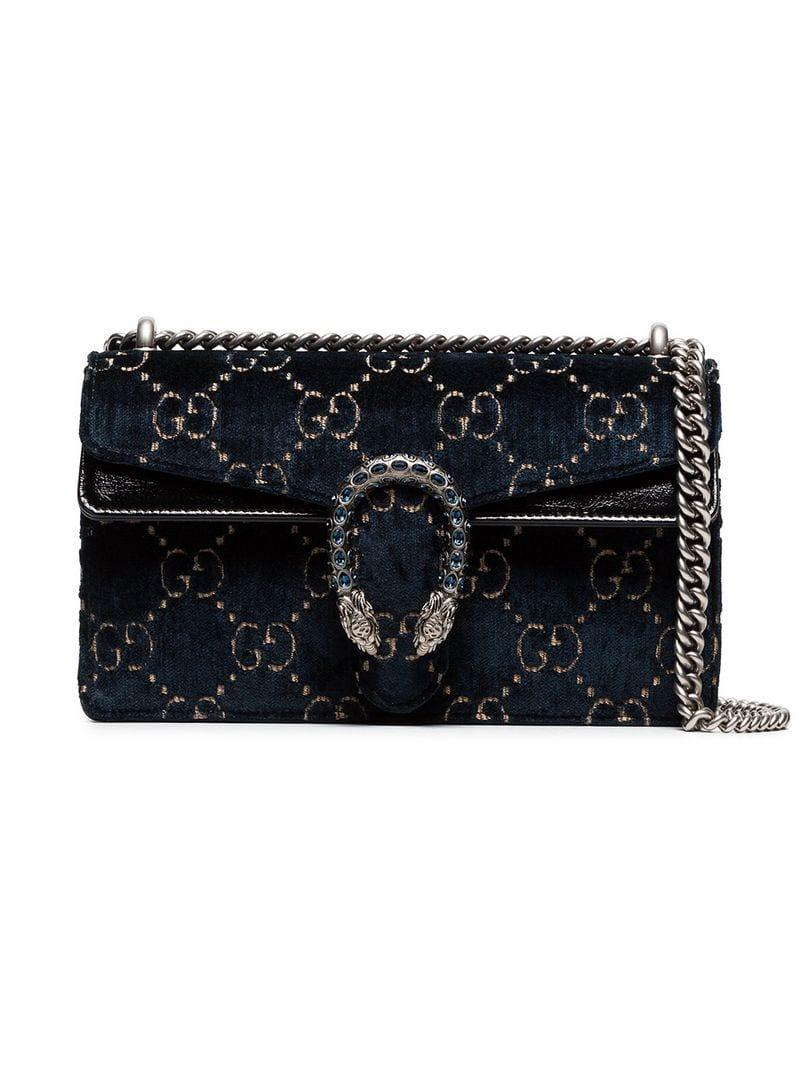 9ae55384057 Gucci Dionysus Leather-Trimmed Embossed Velvet Bag - Blue | ModeSens