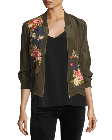cf3e71740bc Johnny Was Plus Size Lucy Crepe De Chine Bomber Jacket In Army ...