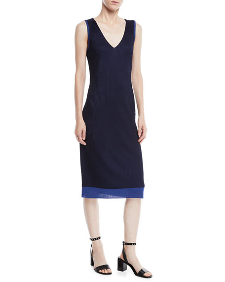 e00fa38d2eeeb8 Rag   Bone Cora V-Neck Rib-Knit Midi Dress In Blue