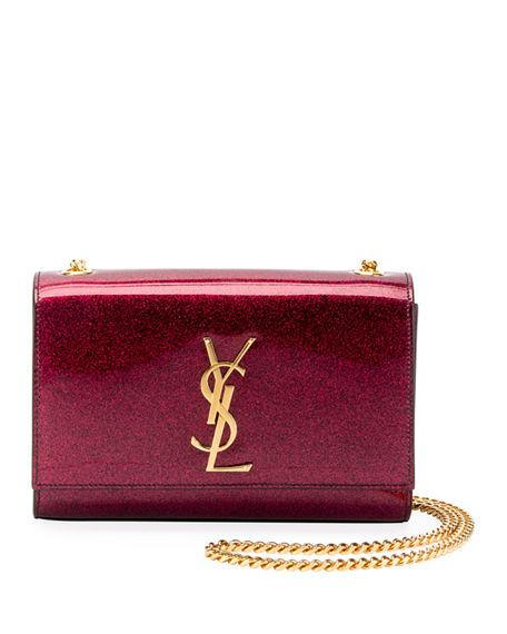 b8a9bd7f1294 Saint Laurent Kate Monogram Ysl Small Glitter Patent Crossbody Bag In Pink