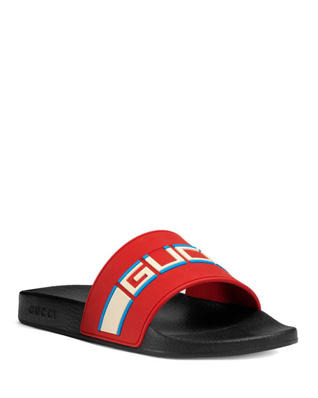 Gucci Men's Logo Stripe Slide Sandals In Red