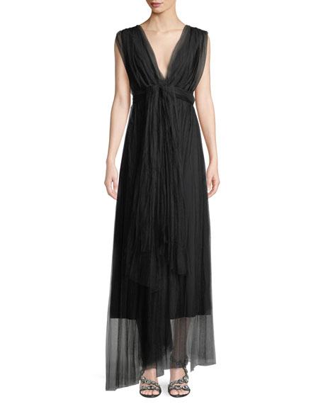 f440e465 Chiara Boni La Petite Robe Vanda V-Neck Sleeveless Wrap-Belt Illusion Tulle  Evening