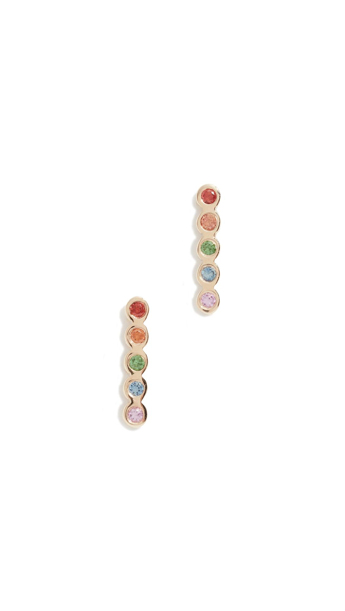 44a2ee291 ZoË Chicco 14K Tiny Bezel Bar Rainbow Earrings In Yellow Gold | ModeSens