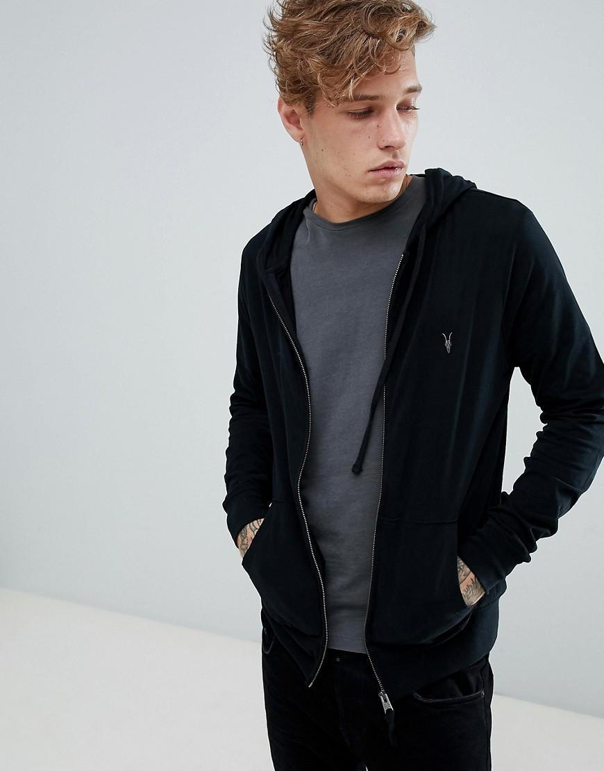 b177e6ce Allsaints Zip Through Lightweight Hoodie In Black - Black | ModeSens