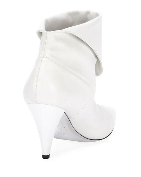 66632db0aeaf Givenchy Show Leather Folded Cone-Heel Ankle Boots In White