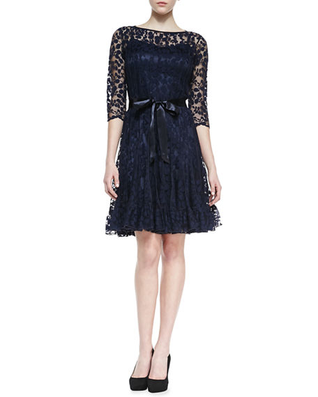 3a8c276c5f4f Rickie Freeman For Teri Jon 3/4-Sleeve Lace Overlay Cocktail Dress, Navy