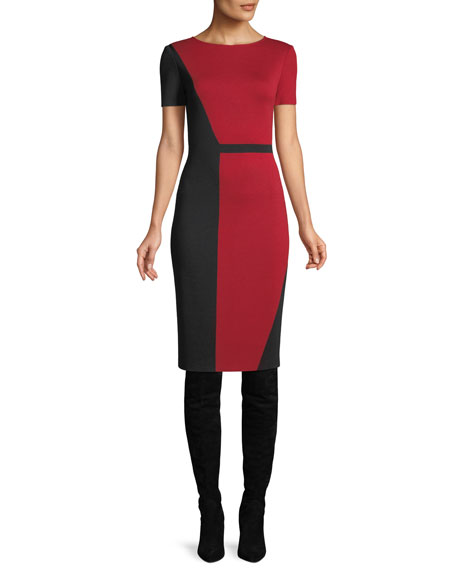 63b996aca389 St. John Slanted Colorblock Milano Knit Sheath Dress In Caviar  Burnt Red