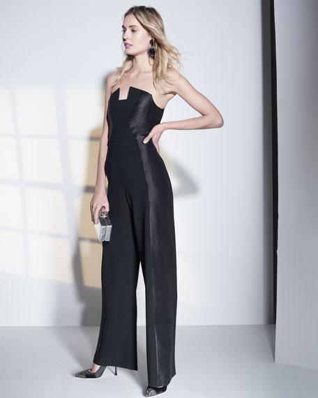 066c42f9eab Black Halo Lena Strapless Wide-Leg Velvet Jumpsuit In Black