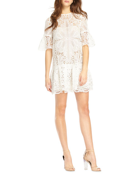 e5acf1b335be Ml Monique Lhuillier Short-Sleeve Lace Mini Dress In White | ModeSens