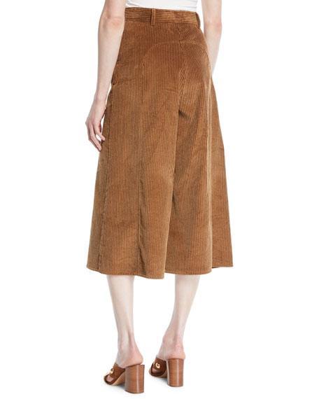 288977eef7 Cropped Cotton-Blend Corduroy Wide-Leg Pants in Brown