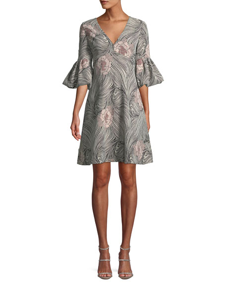 V-Neck Bell-Sleeve Mixed-Media A-Line Cocktail Dress in Blush