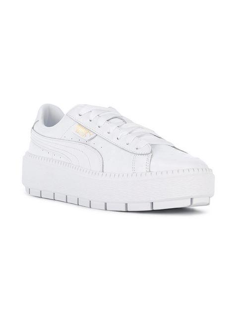 e054022300d Puma Women S Trace Ostrich-Embossed Leather Lace Up Platform Sneakers In  White