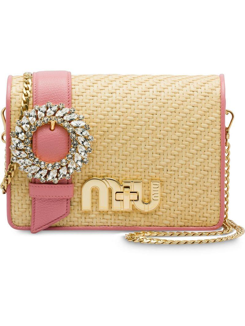 c3504fb72872 Miu Miu Crystal-Embellished Raffia Cross-Body Bag In Neutrals