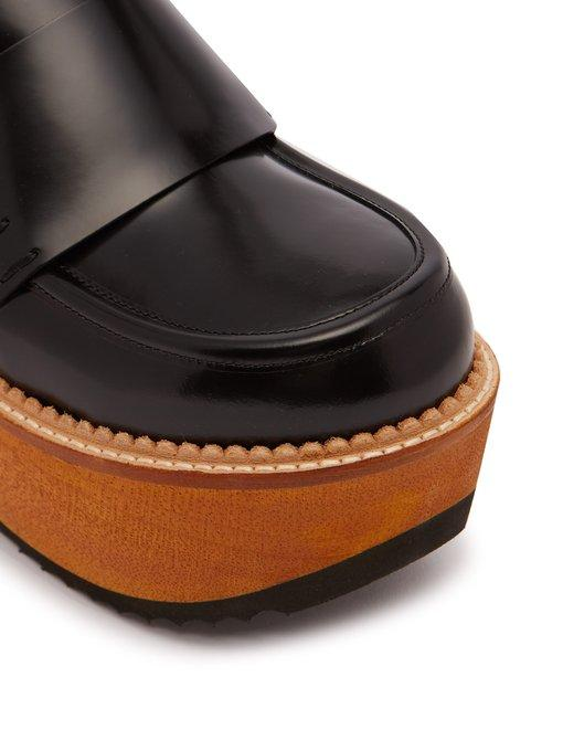 a531c4d4bb4 Marni Leather And Wood Slip-On Flatform Loafers In Black