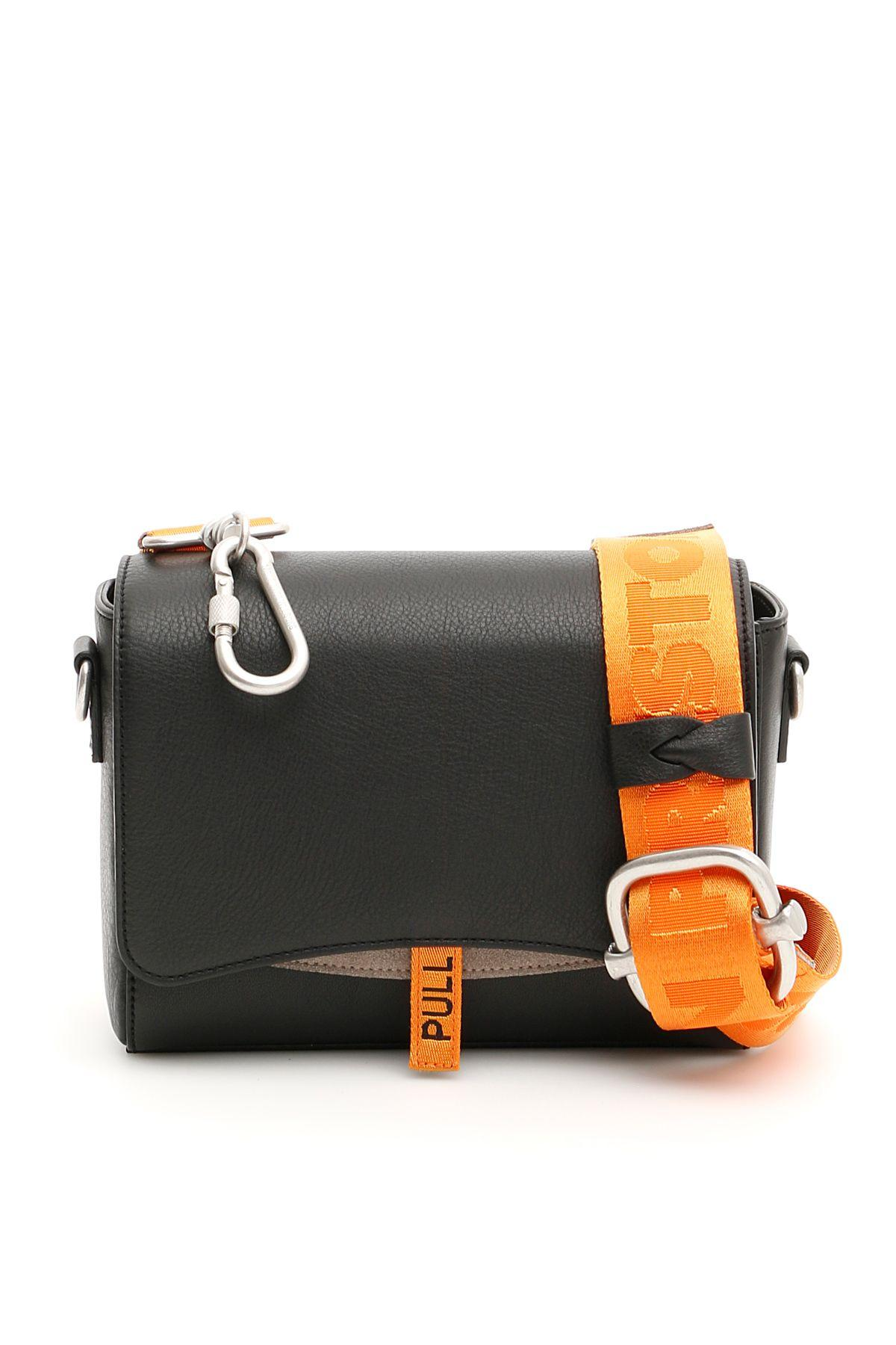 463c1ee8687b Heron Preston Black   Orange Leather Flap Bag