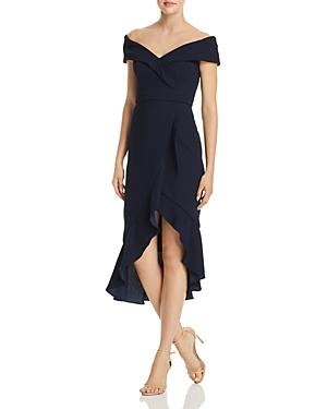 2cb39af33d317 Avery G Off-The-Shoulder Ruffle Front Dress In Navy | ModeSens