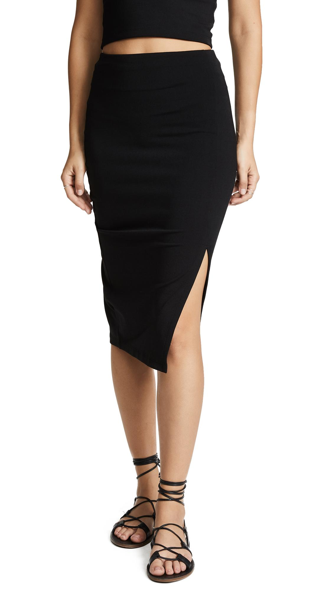 d3d706ac3d Susana Monaco High Waist Slit Skirt In Black   ModeSens