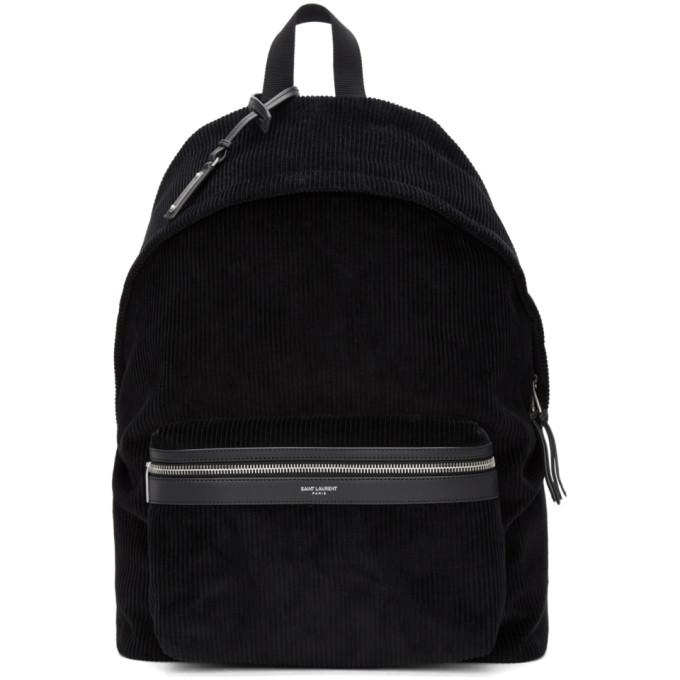 d526d57196af87 Saint Laurent Giant City Backpack In Canvas Nylon And Leather In 1000 Black
