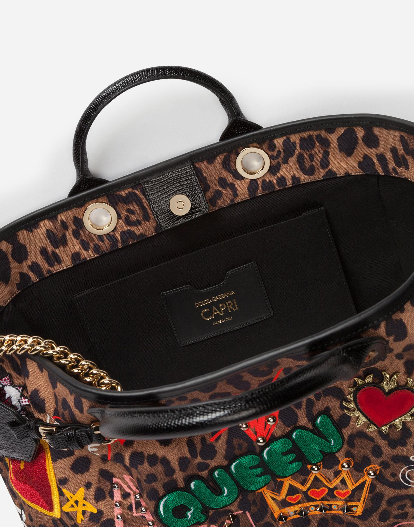fa2a29d1c8 Dolce   Gabbana Capri Shopping Bag In Printed Fabric And Patch Applications  And Iguana Print Calfskin