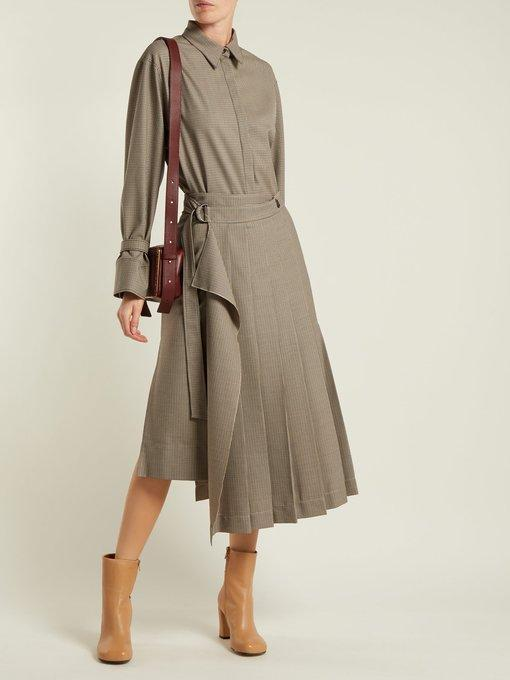 c0158a7088 Joseph Fleet Pleated Houndstooth Skirt In Grey White | ModeSens