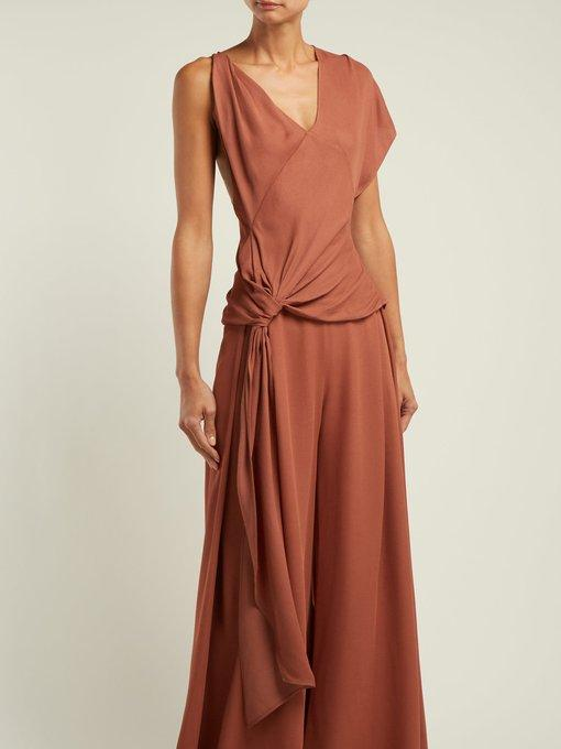 Jacquemus Passo Tied Asymmetric Stretch-Knit Top In Terracotta
