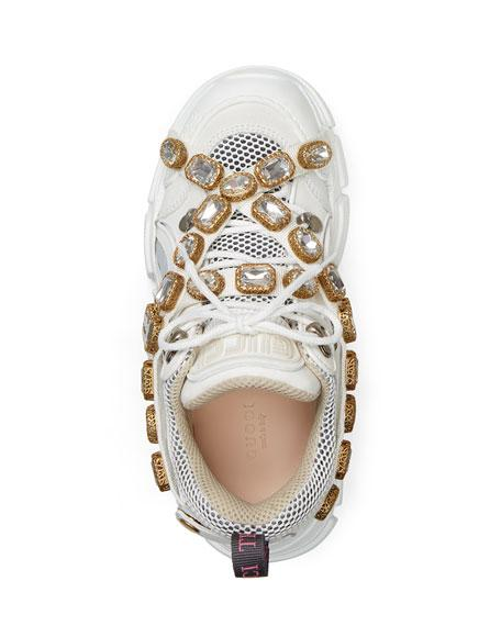Gucci Flashtrek Embellished Logo-Embossed Leather, Suede And Mesh Sneakers In White