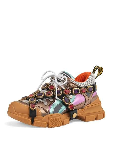 d0be26f4c79 Gucci Flashtrek Embellished Logo-Embossed Metallic Leather And Mesh Sneakers  In Brown