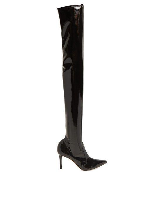 fbb0edda401 Gianvito Rossi Imogen Shiny Vinyl Over-The-Knee Boots In Black ...
