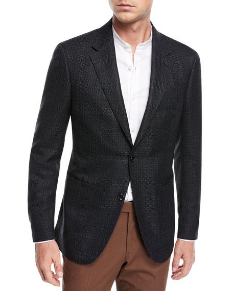 d22276cf8b Ermenegildo Zegna Textured Silk Cotton Blazer In Blue