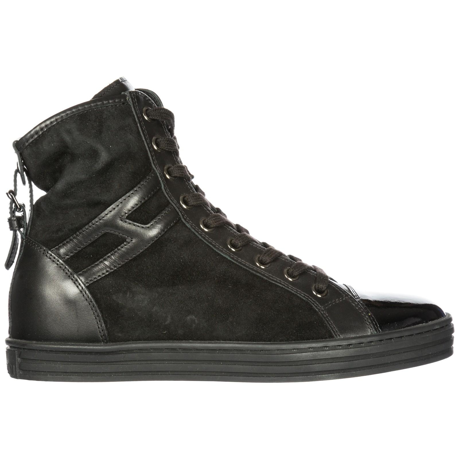 291022588 Hogan Rebel Women's Shoes High Top Suede Trainers Sneakers R182 In Black
