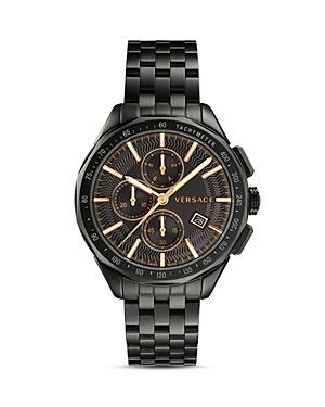 Versace Men's 44Mm Glaze Chronograph Watch W/ Bracelet Strap, Black In Grey/ Black/ Grey