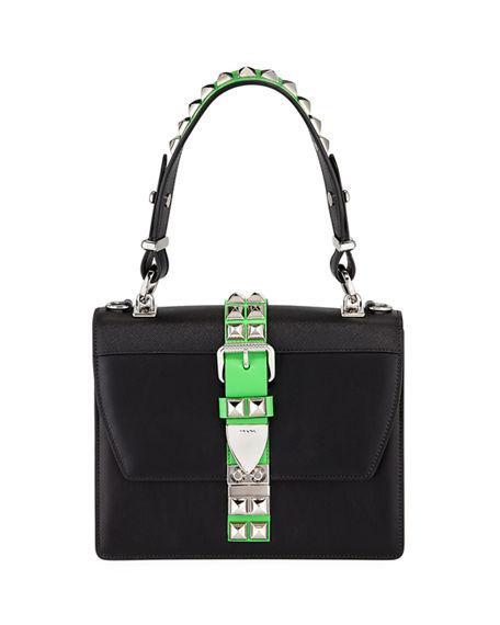461c256bdfaa Prada Elektra City Calf   Saffiano Leather Top-Handle Bag In Black Green