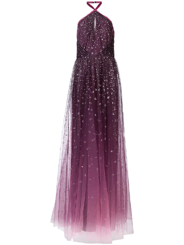 3cca025fb8a5 Marchesa Notte OmbrÉ Glitter Tulle Halter Gown In Pink | ModeSens