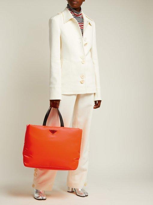 8fe3a46302e0 Prada Logo-Embellished Padded-Nylon Tote Bag In Orange | ModeSens