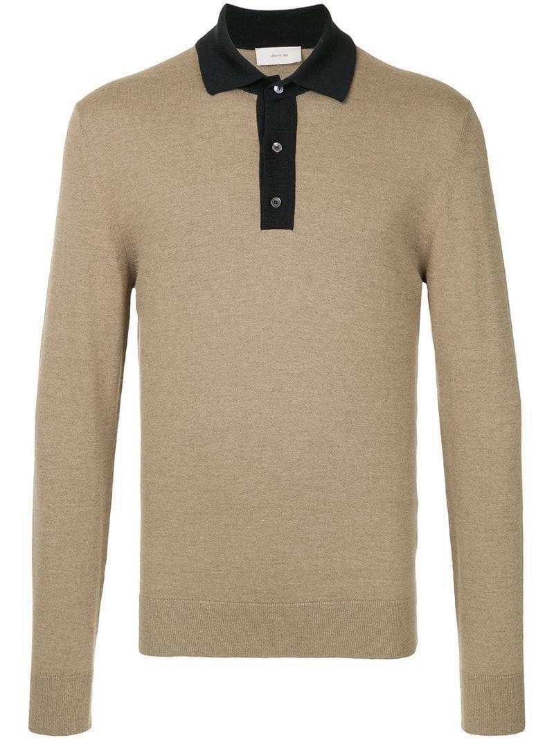 6307b3385 Cerruti 1881 Long Sleeve Polo Shirt - Neutrals