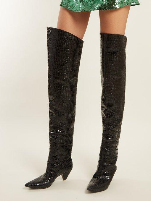 c723c37f674 Attico Asia Croc-Effect Leather Over-The-Knee Boots In Black