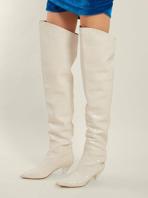 c694862d59a Attico Crocodile-Effect Leather Over-The-Knee Boots In White