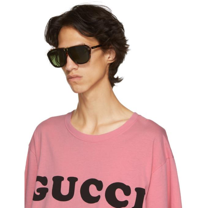 8b9b4a0713 Gucci Tortoiseshell And Black Opulent Luxury Flip-Up Sunglasses In 006  Havana