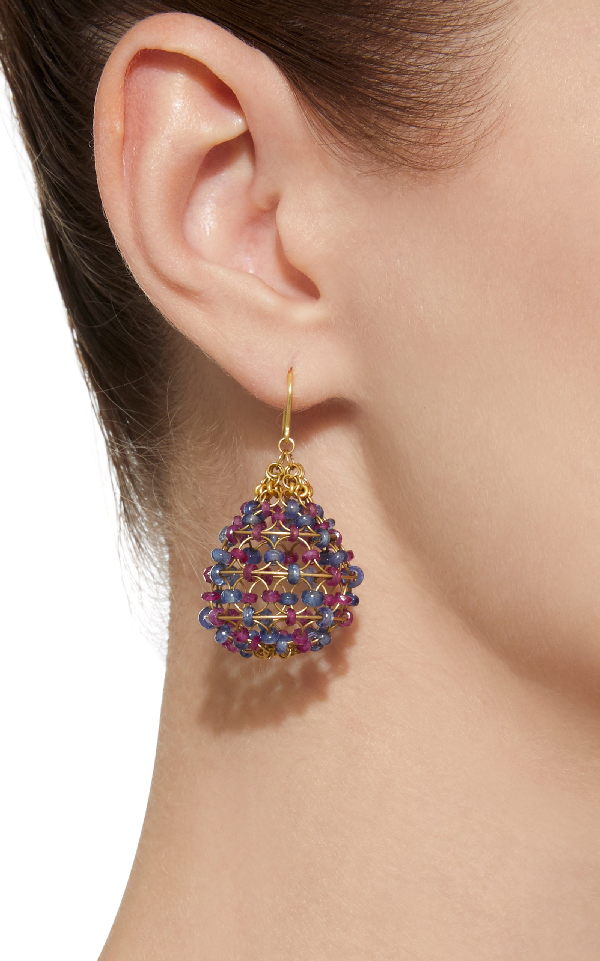 Russian Dome 18K Gold Ruby And Cabochon Sapphire Beaded Earrings in Multi