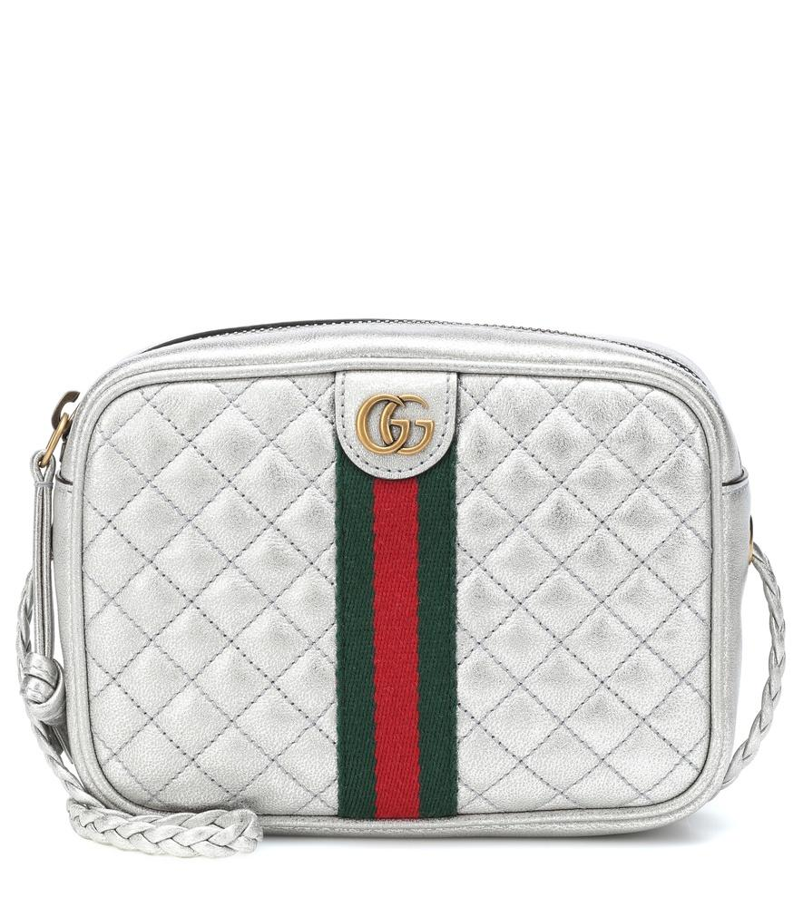 4a642063d1d8 Gucci Quilted Metallic Leather Crossbody Bag - Metallic