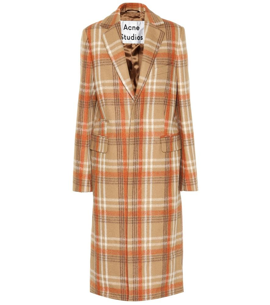 e911147a043 Camel Checked Wool-Blend Coat in Brown