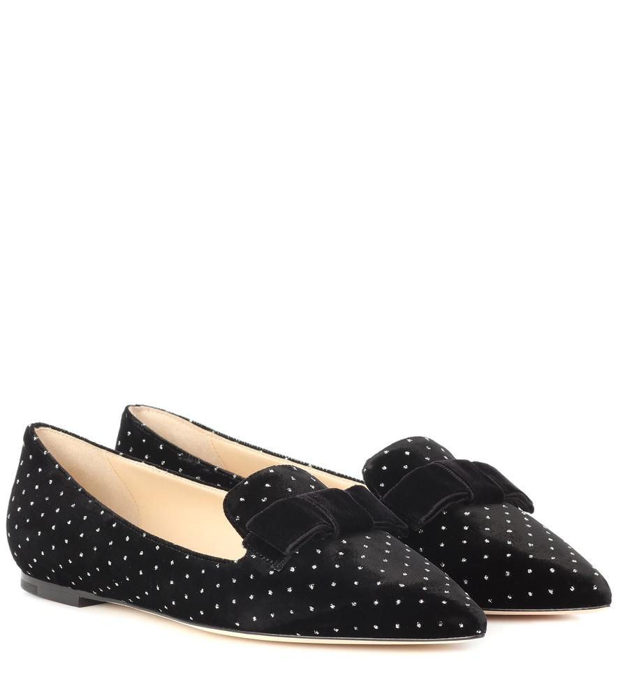 11daf606c80 Gala Black Glitter Spotted Velvet Pointy Toe Flats With Bow Detail