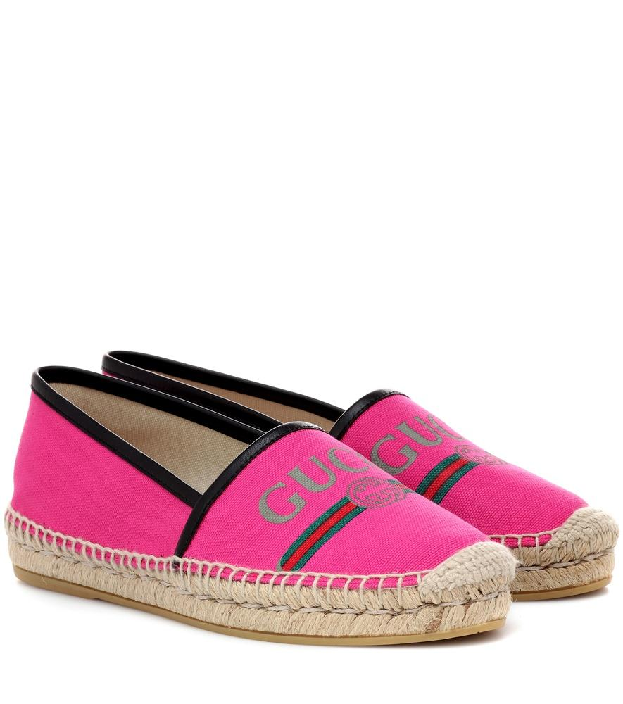 9e2ed1a086f Gucci Leather-Trimmed Logo-Print Canvas Espadrilles In Pink