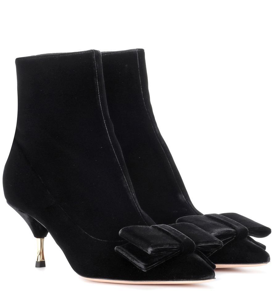 d087434aec0 Velvet Kitten-Heel Booties in Black