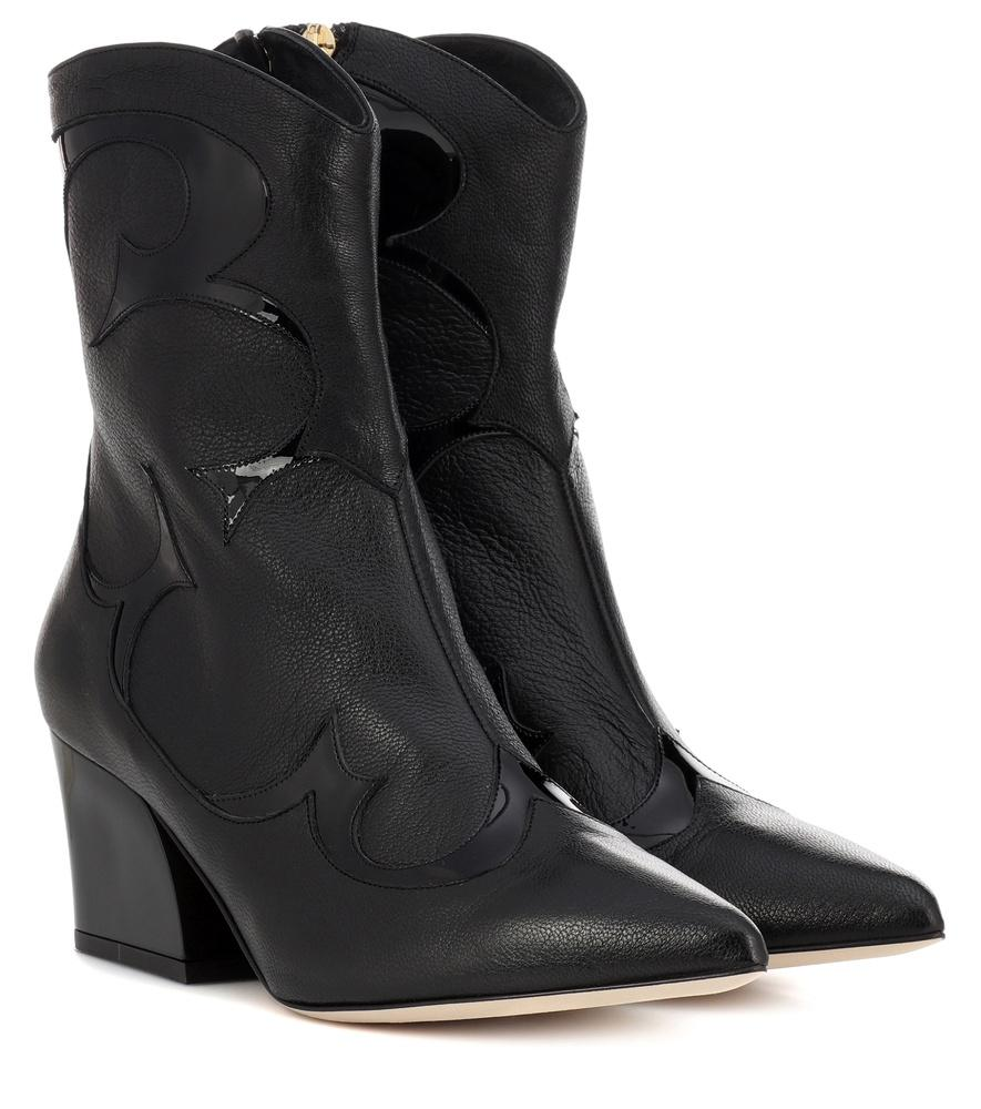 305732250ca Felix Patent-Trimmed Leather Ankle Boots in Black