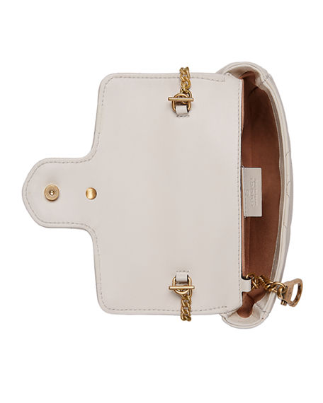 Gucci Supermini Gg Marmont 2.0 Matelasse Leather Shoulder Bag - White